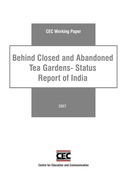 Behind Closed and Abandoned Tea Gardens- Status Report of India CEC Working Paper