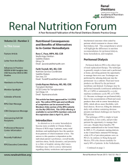 Renal Nutrition Forum In This Issue Nutritional Consequences and Benefits of Alternatives