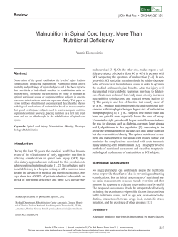 Malnutrition in Spinal Cord Injury: More Than Nutritional Deficiency Review ress