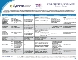 QUICK REFERENCE INFORMATION: Preventive Services
