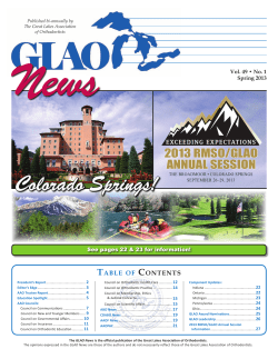 News 2013 RMSO/GLAO ANNUAL SESSION T