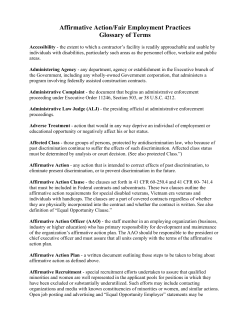 Affirmative Action/Fair Employment Practices Glossary of Terms