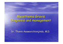 Myasthenia Gravis Diagnosis and management Dr. Thanin