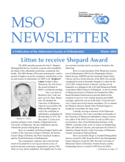 MSO NEWSLETTER Litton to receive Shepard Award