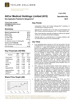 (ACG) AtCor Medical Holdings Limited Summary Speculative