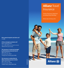Allianz Insurance Product Disclosure Statement (including Policy Wording)