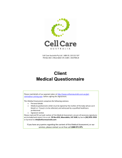 Client Medical Questionnaire