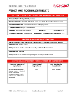 MATERIAL SAFETY DATA SHEET PRODUCT NAME: RICHGRO MULCH PRODUCTS