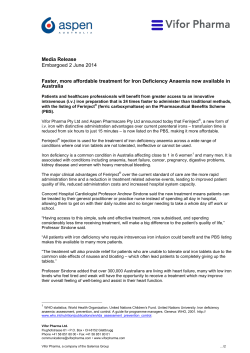 Media Release Australia Embargoed 2 June 2014