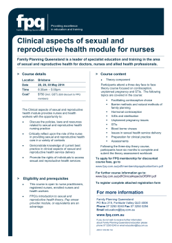 Clinical aspects of sexual and reproductive health module for nurses