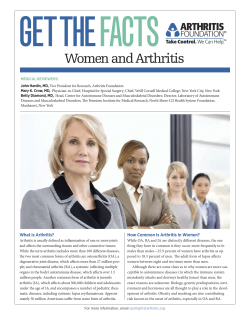 GETTHE FACTS Women and Arthritis