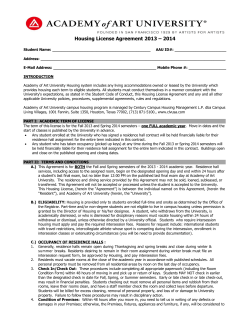 Housing License Agreement 2013 – 2014