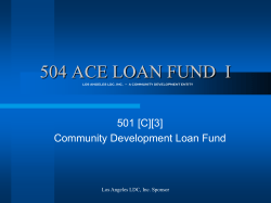 504 ACE LOAN FUND  I 501 [C][3]  Community Development Loan Fund