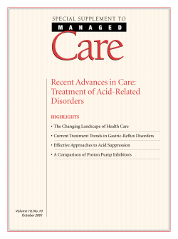 Care Recent Advances in Care: Treatment of Acid-Related Disorders