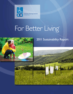For Better Living 2011 Sustainability Report ®