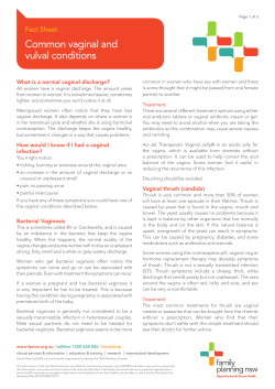 Common vaginal and vulval conditions Fact Sheet What is a normal vaginal discharge?