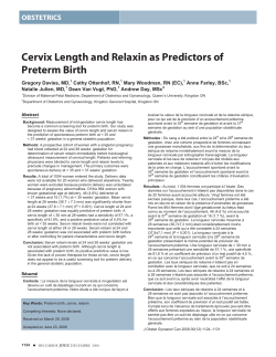 Cervix Length and Relaxin as Predictors of Preterm Birth OBSTETRICS