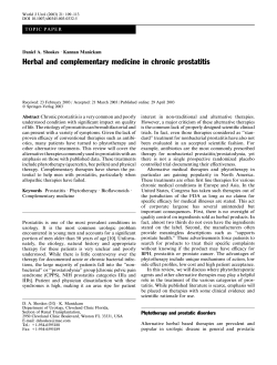 Herbal and complementary medicine in chronic prostatitis