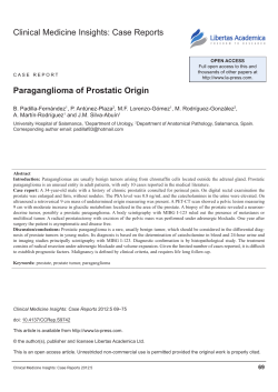 Clinical Medicine Insights: Case Reports paraganglioma of prostatic Origin
