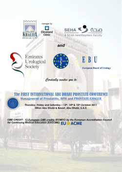 and The FIRST INTERNATIONAL ABU DHABI PROSTATE CONFERENCE Cordially invites you to