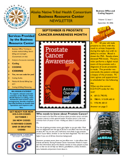 Alaska Native Tribal Health Consortium NEWSLETTER Business Resource Center SEPTEMBER IS PROSTATE
