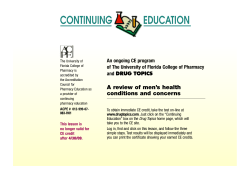 CONTINUING          ... A review of men's health An ongoing CE program