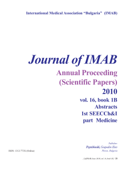 Journal of IMAB Annual Proceeding (Scientific Papers) 2010