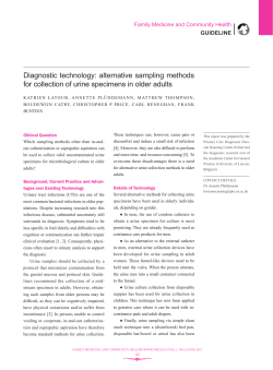 Diagnostic technology: alternative sampling methods Family Medicine and Community Health GUIDELINE