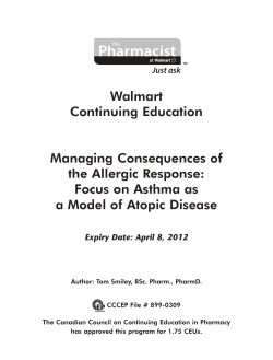 Walmart Continuing Education Managing Consequences of the Allergic Response: