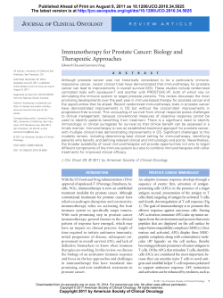Immunotherapy for Prostate Cancer: Biology and Therapeutic Approaches