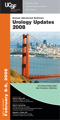 2008 Urology Updates y 8-9, 2008 Annual Advanced Seminar: