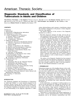 American Thoracic Diagnostic Standards and Classification of Tuberculosis in Adults and Children S