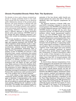 Opposing Views Chronic Prostatitis/Chronic Pelvic Pain: The Syndrome