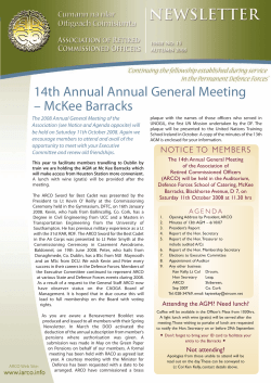 14th Annual Annual General Meeting – McKee Barracks