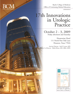 17th Innovations in Urologic Practice October 2 - 3, 2009