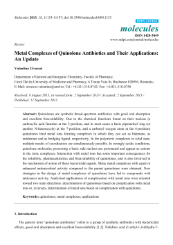 molecules Metal Complexes of Quinolone Antibiotics and Their Applications: An Update