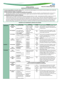 Antibiotic Guidelines Cephalosporins, Quinolones and Co-Amoxiclav