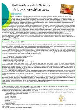 Huthwaite Medical Practice Autumn Newsletter 2011