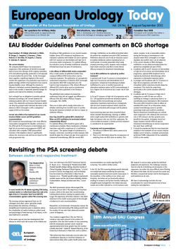 European Urology Today EAU Bladder Guidelines Panel comments on BCG shortage