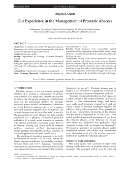 Our Experience in the Management of Prostatic Abscess Original Article K M