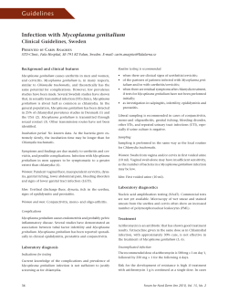 Guidelines Mycoplasma genitalium Clinical Guidelines, Sweden P