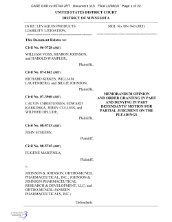UNITED STATES DISTRICT COURT DISTRICT OF MINNESOTA This Document Relates to: