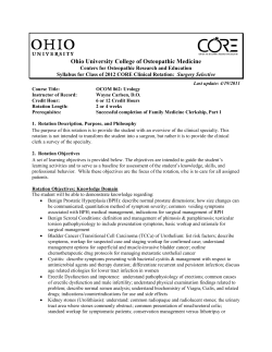 Ohio University College of Osteopathic Medicine  Syllabus for Class of 2012