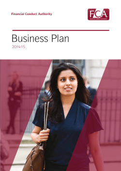 Business Plan 2014/15 Financial Conduct Authority