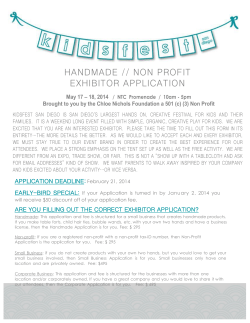 HANDMADE // NON PROFIT EXHIBITOR APPLICATION  – 18, 2014