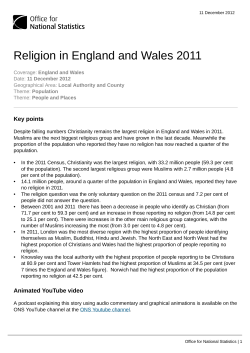 Religion in England and Wales 2011 Key points