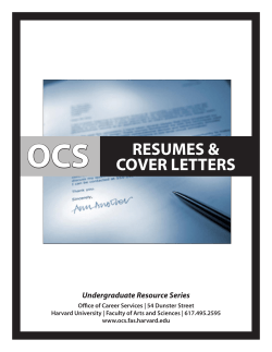 OCS RESUMES & COVER LETTERS Undergraduate Resource Series