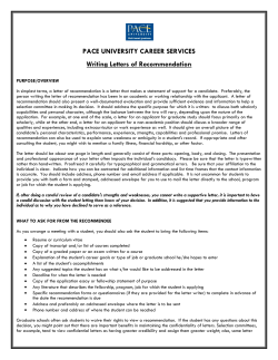 PACE UNIVERSITY CAREER SERVICES Writing Letters of Recommendation