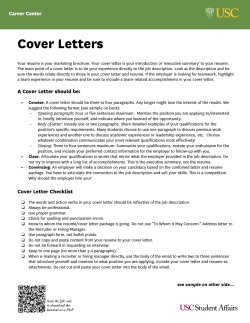 Cover Letters Career Center