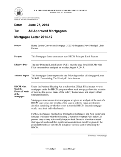 Date: June 27, 2014 To: All Approved Mortgagees